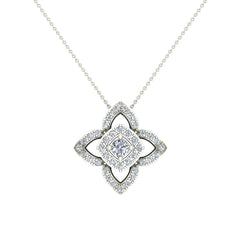Floral Motif Halo White Diamond Pendant in White Gold