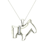 18K Gold Necklace Diamond Dog Pendant 0.10 Carat Total Weight (G,VS) - White Gold