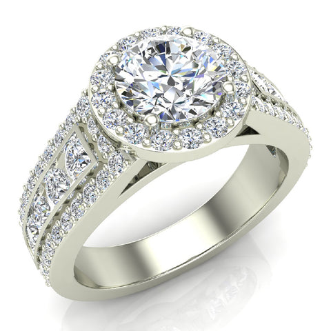 Statement Round Cut Halo Diamond Engagement Ring 1.90 Carat Total Weight 18K Gold (G,SI) - White Gold