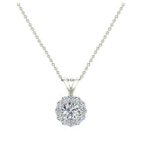 3/8 ct tw White Round Brilliant Diamond Halo Pendant 14K Gold (G,I1) - White Gold
