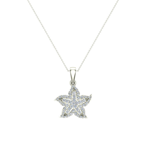 Starfish Diamond Necklace in 14K Gold 0.75 ctw (I,I1) - White Gold