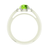 2.10 Carat Peridot & Diamond Fashion Cocktail Ring Hand Right 14K Gold - White Gold