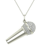 0.82 Carat Voice Microphone Diamond Necklace Music Jewelry Charm 18K Gold (G,SI) - White Gold