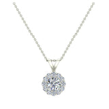 Halo Diamond necklaces for women 14K Gold Charms Round Cut Earth-mined Diamond Pendant (I, I1) - White Gold