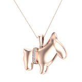 18K Gold Necklace Diamond Dog Pendant 0.10 Carat Total Weight (G,VS) - Rose Gold