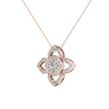 0.90 ct wt Floral pattern motif Diamond Necklace 14K Gold (G,SI) - Rose Gold