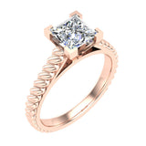 Princess Cut Rope Setting Solitaire Engagement Ring 14K Gold (G,SI) - Rose Gold