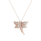 Dragon fly 18K Gold Necklace Pave set Diamond Charm 0.36 Carat Total Weight (G,VS) - Rose Gold