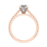 Princess Cut Rope Setting Solitaire Engagement Ring 14K Gold (I,I1) - Rose Gold