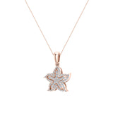 Starfish 14K Gold Necklace Ocean/Beach Jewelry 0.75 Carat Total Weight (I,I1) - Rose Gold