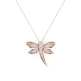 Dragon fly 14K Gold Necklace Pave set Diamond Charm 0.36 Carat Total Weight (I,I1) - Rose Gold