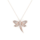 Dragon fly 14K Gold Necklace Pave set Diamond Charm 0.36 Carat Total Weight (G,SI) - Rose Gold