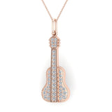 0.36 Carat Guitar Instrument Charm Diamond Necklace Music Jewelry 14K Gold (G,I1) - Rose Gold
