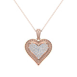 0.56 ct tw Pave-Set Heart Diamonds Necklace 18K Gold(G,VS) - Rose Gold