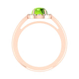 2.10 Carat Peridot & Diamond Fashion Cocktail Ring Hand Right 14K Gold - Rose Gold