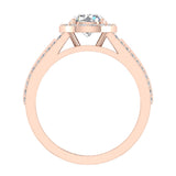 Statement Round Cut Halo Diamond Engagement Ring 1.90 Carat Total Weight 18K Gold (G,SI) - Rose Gold