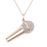 0.82 Carat Voice Microphone Diamond Necklace Music Jewelry Charm 18K Gold (G,SI) - Rose Gold