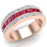 Mens Wedding Rings Ruby Gemstones Rings 14K Gold Diamond Ring 2.97 carat tw - Rose Gold