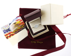 Princess Quad with Halo Wedding Engagement Ring Set In White Gold