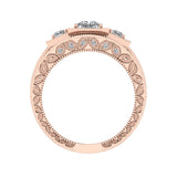 Princess Cut Vintage Engagement Ring Set with Wedding Band 18K Gold (G,VS) - Rose Gold