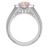 Princess Cut Quad Halo Wedding Ring Set 1.80 Carat Total Weight 14K Gold (I,I1) - Rose Gold