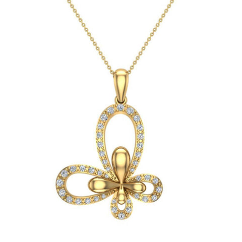 0.51 ct tw Butterfly Diamond Necklace 14K Gold (I,I1) - Yellow Gold
