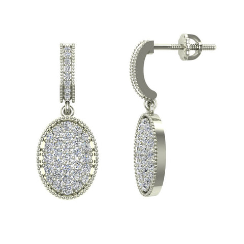 Pave Set Oval Dangle Diamond Earrings 14K Gold (G,SI) - White Gold