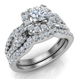Wedding Ring Set for Women Accented Diamond Loop Shank 1.00 - 1.05 ctw Carat 14K Gold (G,SI) - White Gold
