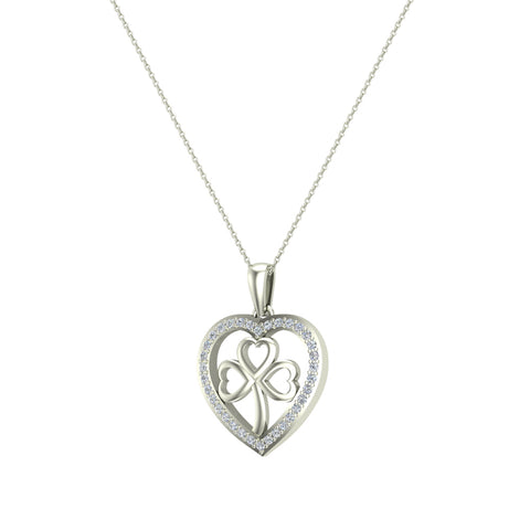 Heart Necklace 14K Gold Diamond Halo with Exquisite Styling (G,I1) - White Gold