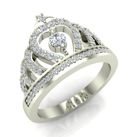 Fashion Princess Tiara Crown Diamond Ring 0.50 carat total weight Band Style 14K Gold (G,SI) - White Gold