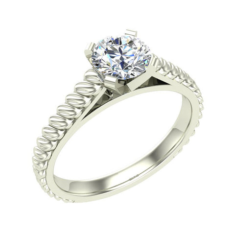 Round Brilliant Cut Rope Setting Solitaire Engagement Ring 18K Gold (G,VS) - White Gold