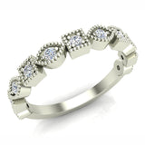 Stacking Marquee & Square Designer Milgrain Diamond Wedding Band 0.22 Ctw 18K Solid Gold (G,SI) - White Gold