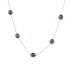 "Lee Sands Cultured Pearl 18"" Station Necklace"