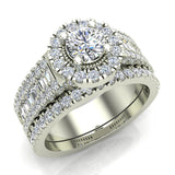 Stunning Round Halo Encrusted Shank Diamond Wedding Ring Set 1.42 ctw 14K Gold (G,I1) - White Gold