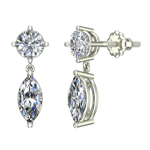 Round & Marquise Drop Two stone Diamond Dangle Earrings 14K Gold (I,I1) - White Gold