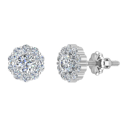 0.75 Carat Round Diamond Halo Stud Earring in 14K Gold with Screw Back (G,I1) - White Gold