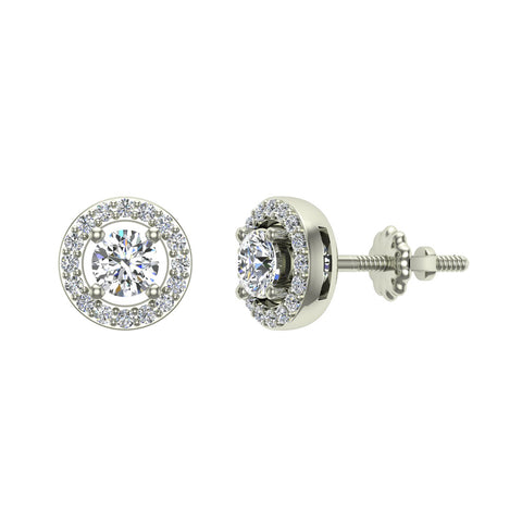 Exquisite Classic Diamond Halo Stud Earrings 14K Gold 4.00 mm Center (G,SI) - White Gold