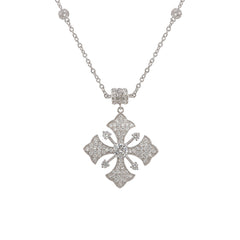 "Esposito Diamonique Maltese Cross Smart-Snap 17"" Sterling Necklace"