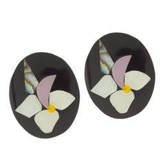 Lee Sands Flower Inlay Earrings