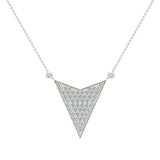 14K Gold Chevron Shape Arrow Pendant Pavé set Diamonds Necklace 0.50 Carat Total Weight (G,SI) - White Gold