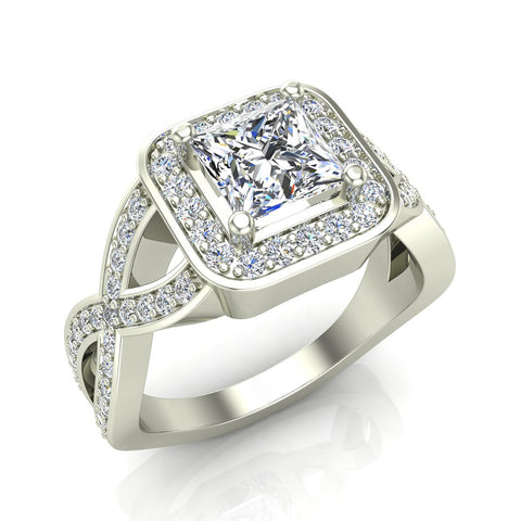 Solitaire Diamond Square Halo Criss-cross Shank Engagement Ring 14K Gold (I,I1) - White Gold
