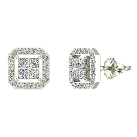 Princess Cut Cornered Square Diamond Earrings in 14K Gold (G,SI) - White Gold