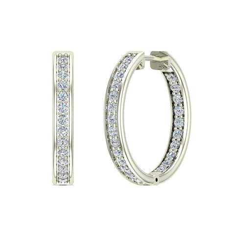 14K Gold Hoop Earrings 21 mm Diamond Line Setting Secure Click-in Lock (G,SI) - White Gold