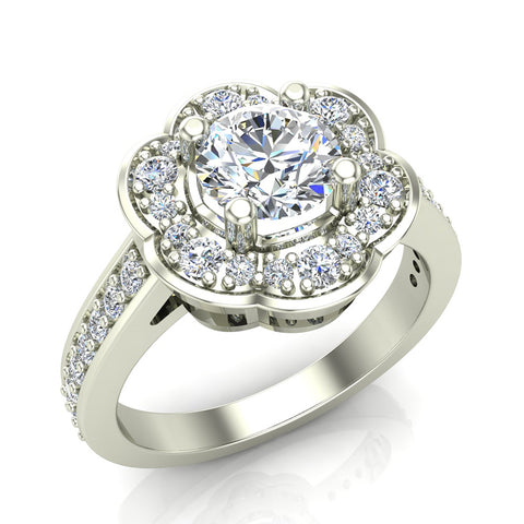 Solitaire Diamond Floral Halo Wedding Ring 14K Gold (G,SI) - White Gold