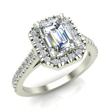 Emerald-Cut Solitaire Diamond Hexagonal Halo Wedding Ring 14K Gold (I,I1)