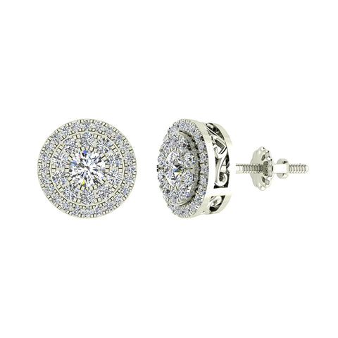 Double Halo Cluster Diamond Earrings 1.01 ctw 14k Gold (G,SI) - White Gold