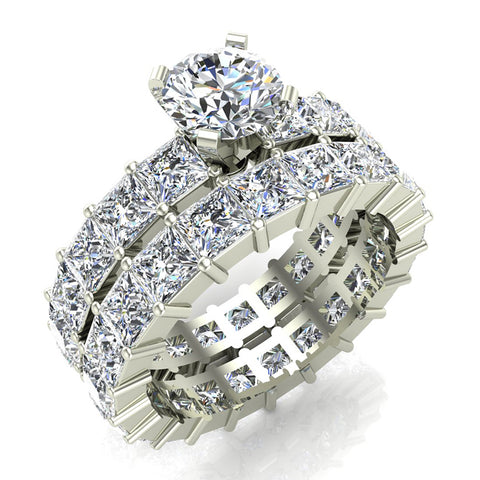 Round Center Princess Eternity Diamond Wedding Ring Set 14K White Gold (G,SI) - White Gold