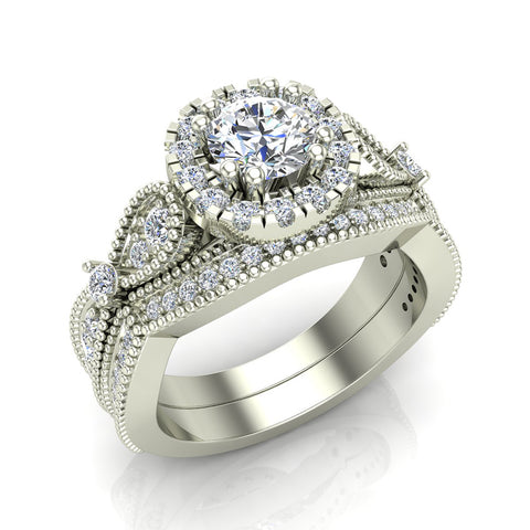 Vintage Halo Diamond Engagement Ring Millgrain Style w/ Band 1.51 Carat Total Weight 18K Gold (G,VS) - White Gold