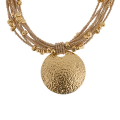 Joan Rivers Goldtone Hammered Disc on Seed Bead Torsade 18""