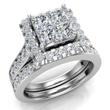 Princess Cut Wedding Rings Set for Women 14K Gold Quad Illusion 1.80 ct tw (I, I1) - White Gold